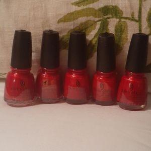 5 bottles China glaze Go Crazy Red #003